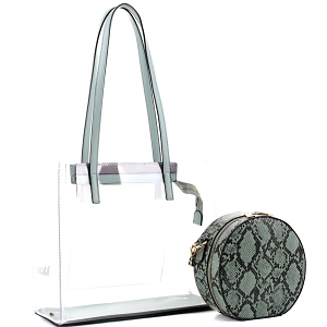 TS20026 Transparent Clear 2 in 1 Tote with Snake Print Cross Body Mint