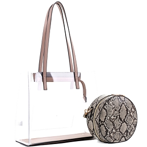 TS20026 Transparent Clear 2 in 1 Tote with Snake Print Cross Body Taupe