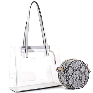 TS20026 Transparent Clear 2 in 1 Tote with Snake Print Cross Body White
