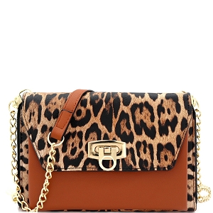 WL1157 Versatile Smartphone-Friendly Wallet Compartment Cross Body Leopard/Brown