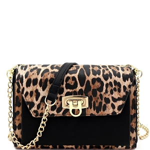 WL1157 Versatile Smartphone-Friendly Wallet Compartment Cross Body Leopard/Black