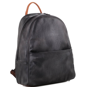 WS19178 Brushed Texture Two-Tone Rustic Fashion Backpack Black (Charcoal)