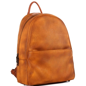 WS19178 Brushed Texture Two-Tone Rustic Fashion Backpack Mustard