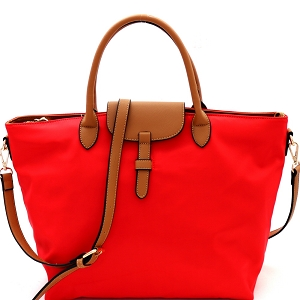 YL19212 Two-Tone Nylon 2-Way Large Tote Red/Taupe