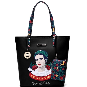 F1201 Authentic Frida Kahlo Viva La Vida Tall Shopper Tote Black