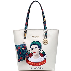 F1201 Authentic Frida Kahlo Viva La Vida Tall Shopper Tote Beige