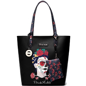 F1203 Authentic Frida Kahlo Skull Tall Shopper Tote Black