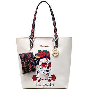 F1203 Authentic Frida Kahlo Skull Tall Shopper Tote Beige