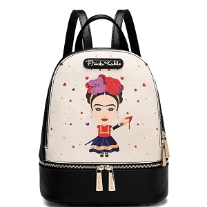 FA930A Authentic Traditional Mexican Costum Cartoon Frida Kahlo Front Pocket Backpack Black