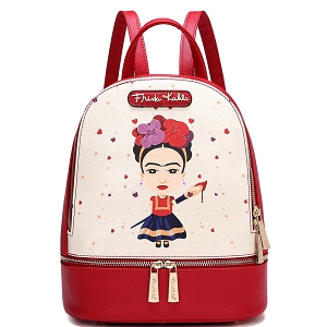 FA930A Authentic Traditional Mexican Costum Cartoon Frida Kahlo Front Pocket Backpack Red
