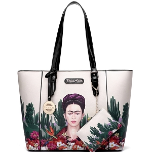 FC910 Authentic Frida Kahlo Cactus Series 2 in 1 Shopper Tote Black