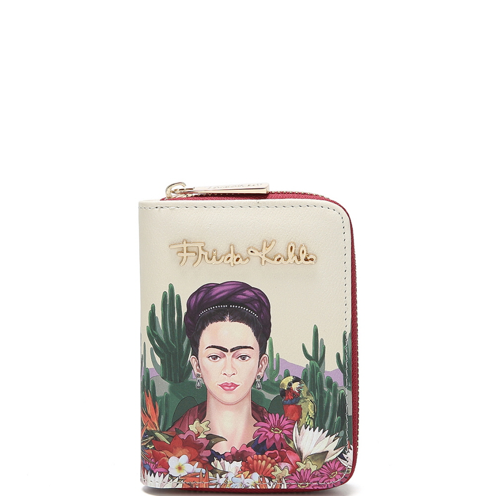 FC925 Authentic Frida Kahlo Cactus Series Zip-Around Bi-Fold Wallet Red