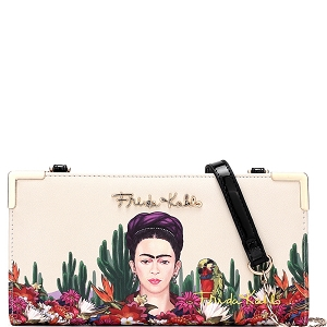 FC928 Authentic Frida Kahlo Cactus Series Wallet Cross Body Black