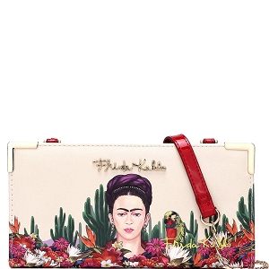 FC928 Authentic Frida Kahlo Cactus Series Wallet Cross Body Red