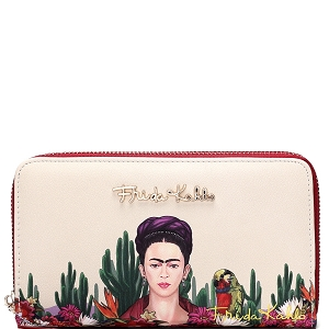 FC929 Authentic Frida Kahlo Cactus Series Double Zip Wristlet Wallet Red