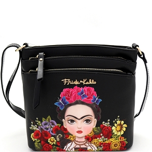 FFC705 Authentic Frida Kahlo Cartoon Version Multi Pocket Medium Crossbody Black/Black