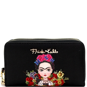 FFC929 Authentic Cartoon Version Frida Kahlo Double Zip Wristlet Wallet Black/Black