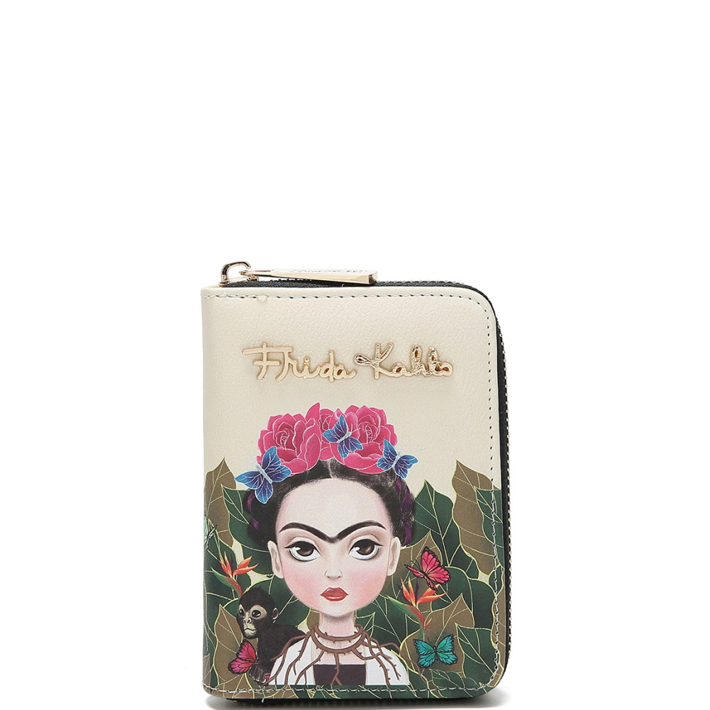 FJC925 Authentic Cartoon Version Frida Kahlo Zip-Around Bi-Fold Wallet Black