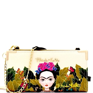 FJC928 Authentic Cartoon Version Frida Kahlo Wallet Cross Body Black