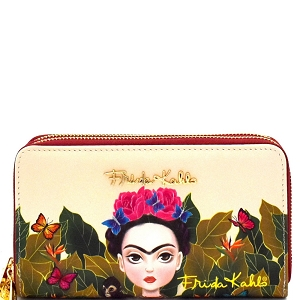 FJC929 Authentic Cartoon Version Frida Kahlo Double Zip Wristlet Wallet Red