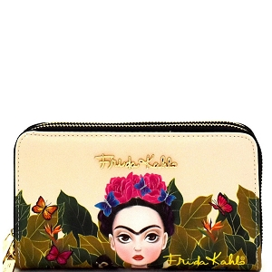 FJC929 Authentic Cartoon Version Frida Kahlo Double Zip Wristlet Wallet Black