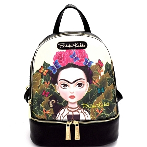 FJC930 Authentic Cartoon Version Frida Kahlo Front Pocket Backpack Black