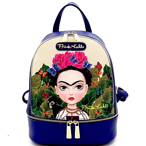 FJC930 Authentic Cartoon Version Frida Kahlo Front Pocket Backpack Navy