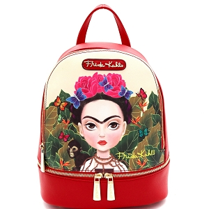 FJC930 Authentic Cartoon Version Frida Kahlo Front Pocket Backpack Red