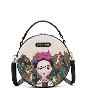 FJC990 Authentic Frida Kahlo Cartoon Version Round Shape 2 Way Satchel Black