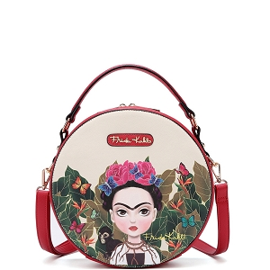 FJC990 Authentic Frida Kahlo Cartoon Version Round Shape 2 Way Satchel Red