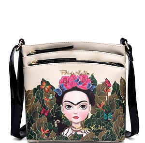 FJC705 Authentic Frida Kahlo Cartoon Version Multi Pocket Medium Crossbody Beige/Black