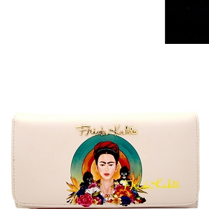 FKR927 Authentic Frida Kahlo with Monkeys Checkbook Wallet Black Interior