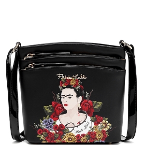 FL705 Authentic Frida Kahlo Floral Series Multi Pocket Medium Crossbody Black
