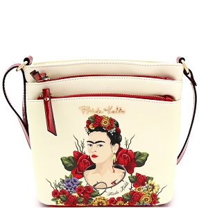 FL705 Authentic Frida Kahlo Cartoon Version Multi Pocket Medium Crossbody Beige/Red