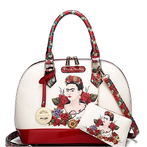 FL902 Authentic Frida Kahlo Flower Series 2 in 1 Dome Satchel Red