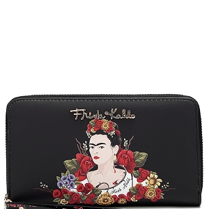 FL929 Authentic Frida Kahlo Flower Double Zip Wristlet Wallet Black