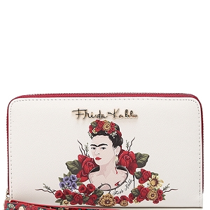 FL929 Authentic Frida Kahlo Flower Double Zip Wristlet Wallet Red