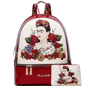 FL930L Authentic Frida Kahlo Flower 2 in 1 Fashion Backpack Red