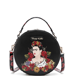 FL990 Authentic Frida Kahlo Floral Series Round Shape 2 Way Satchel Black