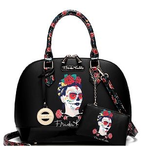 FM902 Authentic Frida Kahlo Skull Series 2 in 1 Dome Satchel Black