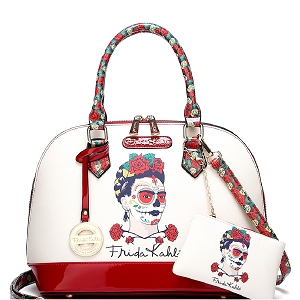 FM902 Authentic Frida Kahlo Skull Series 2 in 1 Dome Satchel Red