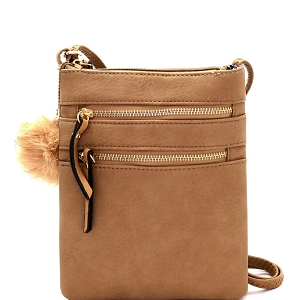 GY408 Pom Pom Accent Multi Pocket Cross Body Taupe