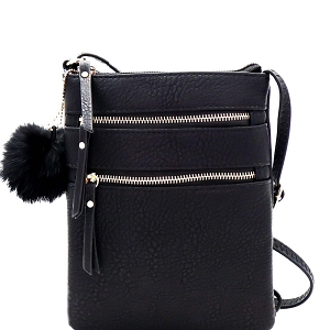 GY408 Pom Pom Accent Multi Pocket Cross Body Black