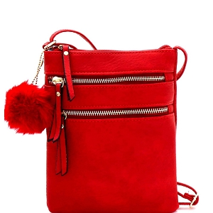 GY408 Pom Pom Accent Multi Pocket Cross Body Red