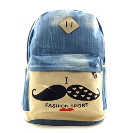 LT773 Fashion Sport with Mustache Print Denim Backpack