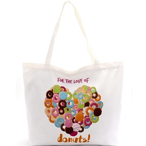 YM1193 For The Love of Donuts Canvas Shopper Tote