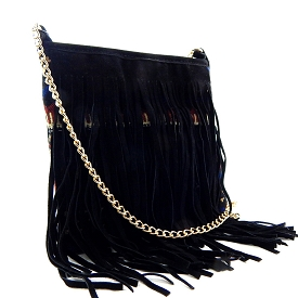 YWHL2165 Aztec Print Fringed Cross Body Black