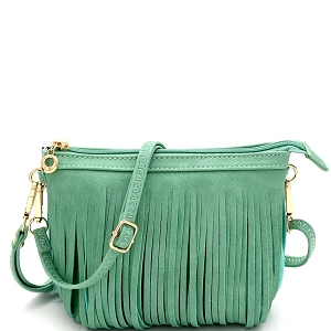 E091 Both Side Fringed Bohemian Small Wristlet Cross Body Turquoise
