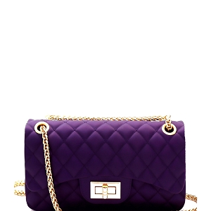 JP067 Quilted Matte Jelly Small 2 Way Turn-Lock Shoulder Bag Purple