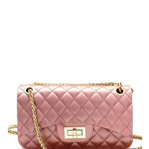JP067 Quilted Matte Jelly Small 2 Way Turn-Lock Shoulder Bag Pearl-Pink